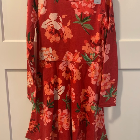 **Girls - Long-sleeve Red Floral Summer Dress!**